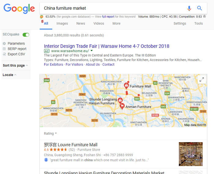 China furniture market search from google