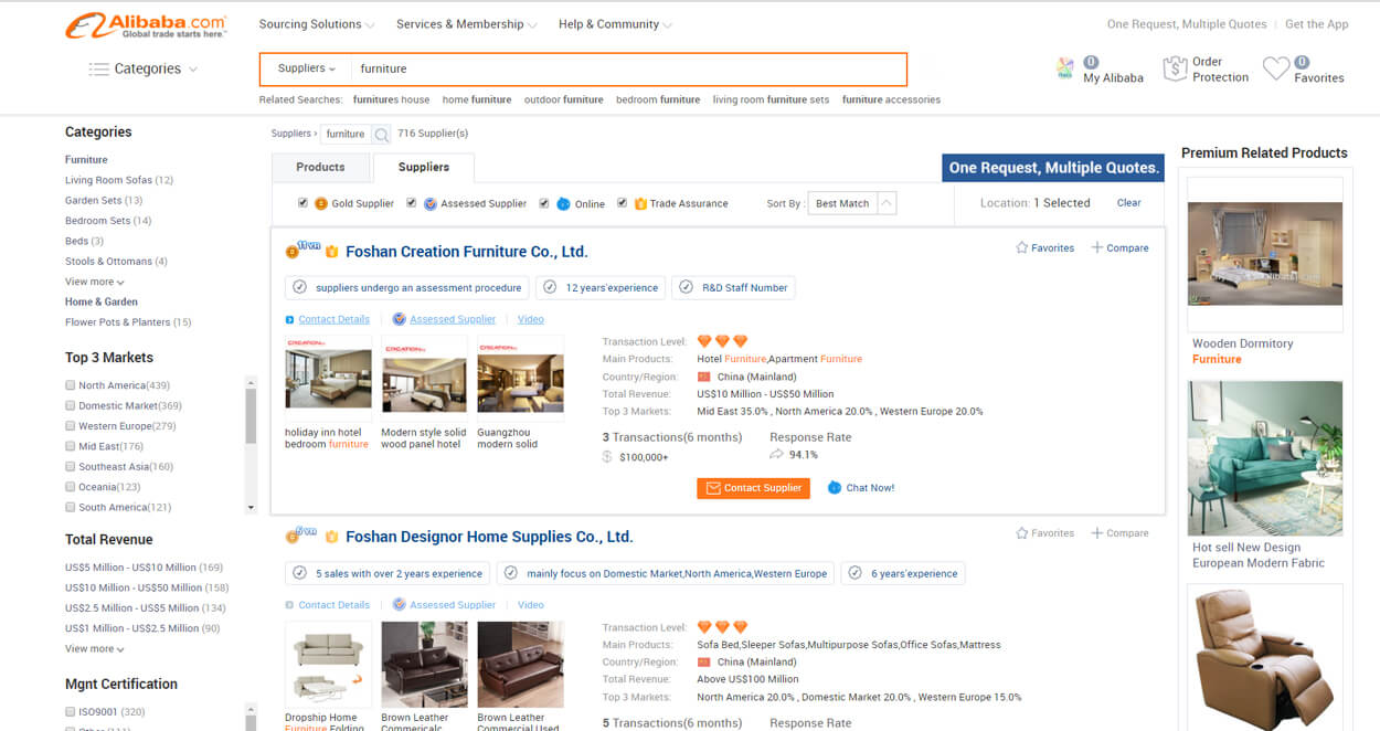 Find Furniture Factory From Alibaba