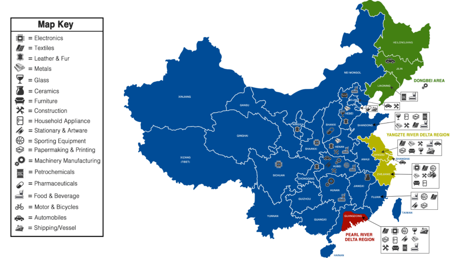 Map of China Manufacturing Distribution